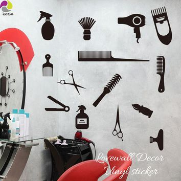 Hair Tools 13 of Set Wall Window Sticker Hair Nail Barber Manicure Spa Shop Wall Decal Decor Vinyl Decor DIY Outdoor Interior