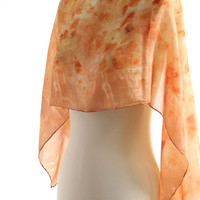 eco printed silk scarf, onion naturally dyed scarf, garden plants onion eucalyptus, botanical print, burnt orange summer shawl eco dyed silk