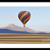 Hot Air Balloon And Longs Peak Framed Print