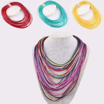 Multilayer Waxed Necklace Leather Cord Magnet Hook Tassel Necklace
