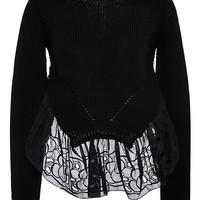 Broderie Anglaise-Trimmed Asymmetric Cotton Sweater