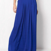 Candy Color Pleated Maxi Skirt