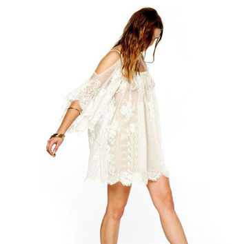 Vintage Hippie Boho Bohemian Style White Lace Dress Short Sleeves
