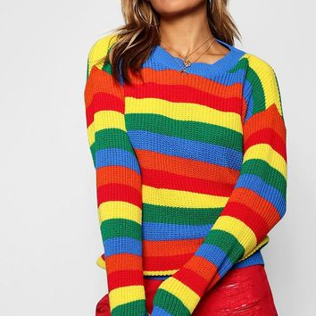 Lola Rainbow Knitted Stripe Jumper | Boohoo