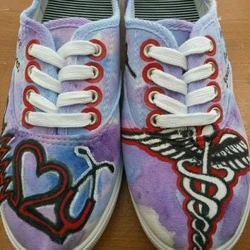 custom made nursing rn painted shoes toms converse vans keds nurse painted shoes