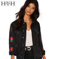 HYH HAOYIHUI Black Women Denim Jacket Casual Floral Embroidery Streetwear Coat Vintage Button Pockets Commuter Coat