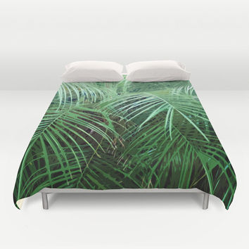 Jungle Palms 2 - Duvet Cover, Green Palm Tree Fronds Bed Blanket, Beach Surf Boho Chic Bedroom Style Throw Cover. In Twin Full Queen King