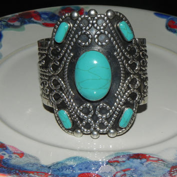 Estate Sterling Bracelet Cuff, Vintage Mexican Turquoise Signed Esperanza Mexico 925