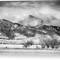 Meeker And Longs Peak In Winter Clouds Bw Canvas Print