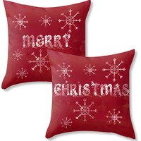 Red christmas pillows, Merry Christmas snowflake cushions, holiday home decor cushion,  red theme word art typography