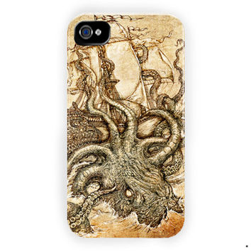 Kraken Steampunk Octopus Sea For iPhone 4 / 4S Case