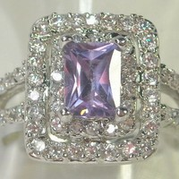 Size 8 Gorgeous Vintage Style Sim. Tanzanite and White Topaz 10kt White Gold Filled Ring  from TORNADO'S TREASURES