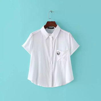 Summer Stylish Short Sleeve With Pocket Embroidery Shirt [7831998983]