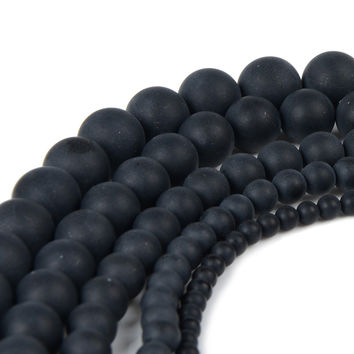 Dull Polish Matte Black Onyx Agate Beads Round Natural Stone Beads For Making jewelry 4 6 8 10 12mm Pick Size