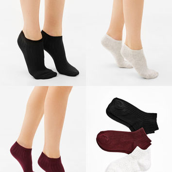 Set of 3 ribbed ankle socks - Socks - Bershka United States