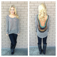 Mocha Knit Low Back Embroidered Back Top