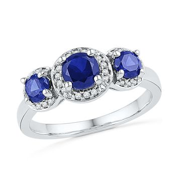 10kt White Gold Womens Round Lab-Created Blue Sapphire 3-stone Diamond Ring 1-3/8 Cttw