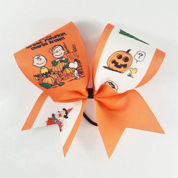 Great Pumpkin Cheer Bow - 3 Inch Texas Sized - Halloween Party - Theme Practice - Birthday Gift - Ponytail Accessory - Fall