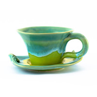 Pottery cup coffee cappuccino cup ceramic stoneware latte cup - unique handmade created with love to enamel colours - turquoise yellow green