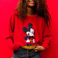 Vintage 90's Mickey Mouse Red Pullover Sweater - One Size Fits Many