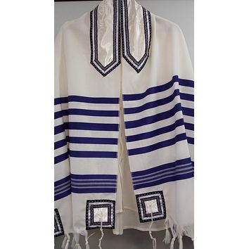 Classic blue and white wool Tallit for men