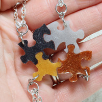 Tiny Puzzle pendants 4 piece set Silver Copper Gold and black glitter resin puzzle pieces R5