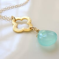 Hayden... small brushed gold vermeil clover quatrefoil charm and aqua chalcedony necklace.