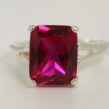 Ruby Ring Sterling Silver, Emerald Cut Ruby Ring, July Birthstone Ring, Ruby Ring