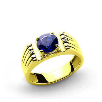 10 K Solid Yellow Gold Men's Ring with 2.40 ct Sapphire and 0.01 ct Diamonds
