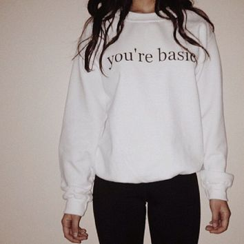 [you are basic] punk hip-hop fun letters printing thickened white sweater men and women