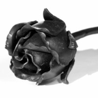 Wedding Metal FOREVER ROSE BUD Handmade Forged Iron Flower Steel Anniversary Gift
