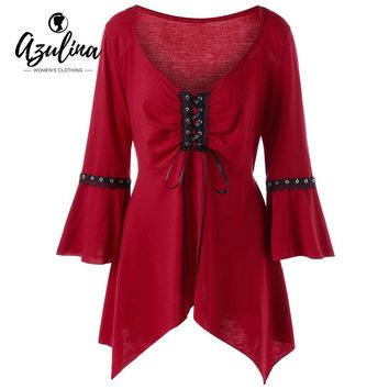 Womens Blouse Plus Size Flare Sleeve Lace Up Top Fashion Casual V-Neck Three Quarter Tops