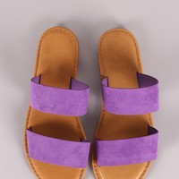 Sunny Feet Suede Double Band Slide Sandal