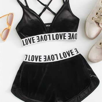 Letter Print Crisscross Velvet Bra With Shorts Set