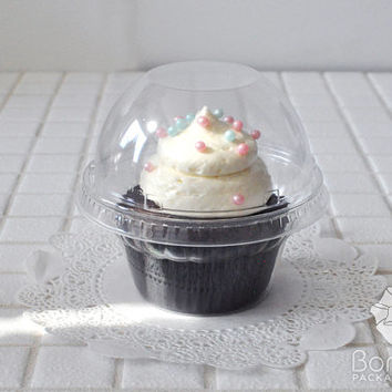 Clear Plastic Cupcake cup & Lid set of 25