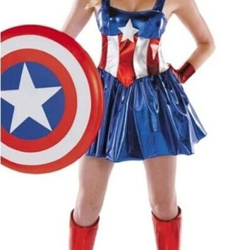 PEAPIX3 female superman's uniform Halloween superman costume party dress (includ headwear+gloves+stocking) = 1946667204
