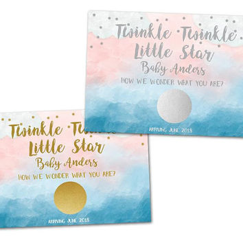 Twinkle Twinkle Gender Reveal Scratch Off Cards - Little Star Gender Reveal Party - Scratch Offs - Silver or Gold - Blue Pink -  Baby Shower
