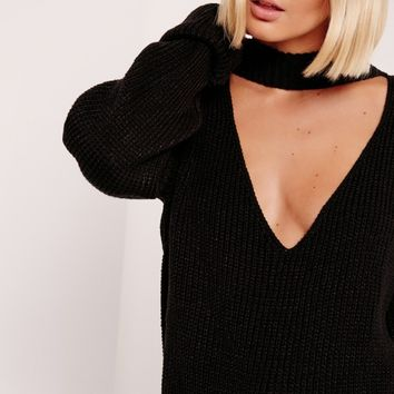 Missguided - V-Neck Line Choker Jumper Black