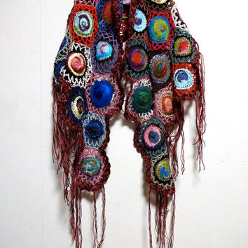 NEW - Bohemian Gypsy Wool Felted Crochet Multi Color Scarf Shawl