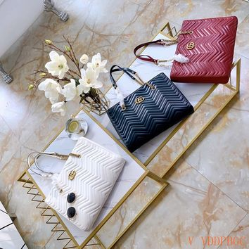 HCXX 19Oct 101 Gucci Marmont Wave GG Quilted Classic Fashion Chain Tote Large Shopper Bag 39-29-6cm