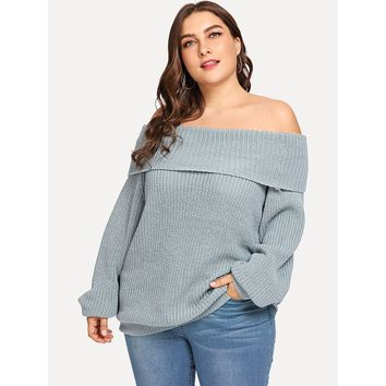 Plus Off Shoulder Fold Over Slim Fitted Jumper