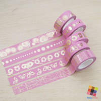 Pink Collection - Gold Foiled 10m Washitape