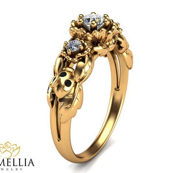 Flowers and Ladybug Engagement Ring 14K Yellow Gold Diamond Ring Three stone ring Unique Engagement Ring Flower Ring