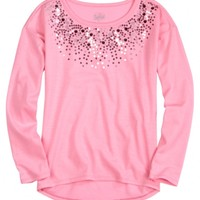 Long-sleeve Embellished High-low Tee