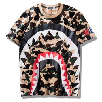 BAPE SHARK  Fashion camouflage casual shark print casual tee tops
