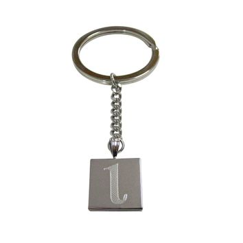 Silver Toned Etched Greek Letter Lota Pendant Keychain