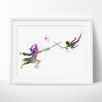 Peter Pan Art Print, Disney Art, Watercolor Print, Captain Hook, Poster, Watercolour Painting, Nursery Room, Home Decor (95)