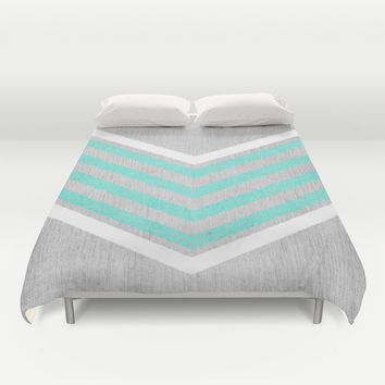 Teal and White Chevron on Silver Grey Wood Duvet Cover by Tangerine-Tane