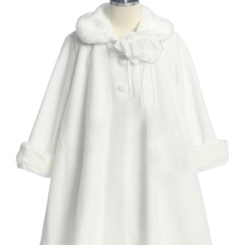 White Fleece & Fur Trim Tea Length Dress Coat (Girls Sz 2T to 12)