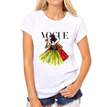 2018 Brand Women T Shirt Tattoo Vogue Princess Print Tshirt Women Short Sleeve Casual Shirt For Lady Tops Tees Hipster T-shirt